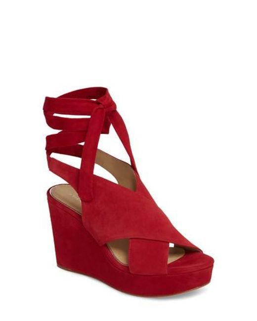 Etienne Aigner - Red Dominica Platform Wedge Sandal - Lyst