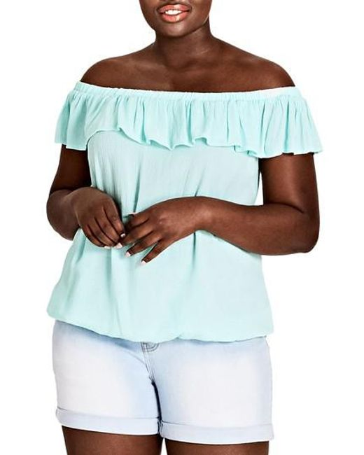 City Chic - Blue Summer Delight Top - Lyst
