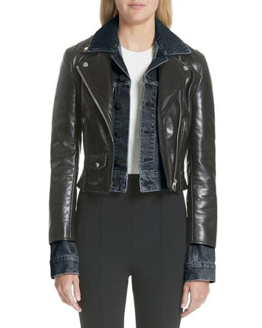 Alexander Wang - Black Denim & Leather Layered Jacket - Lyst