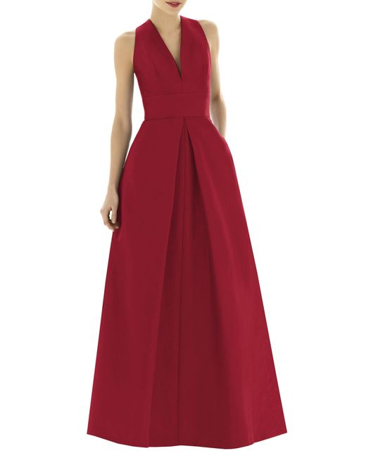 Alfred Sung - Red Dupioni A-line Gown - Lyst