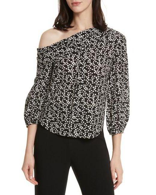 Saloni - Black Ness Print Silk Off The Shoulder Top - Lyst