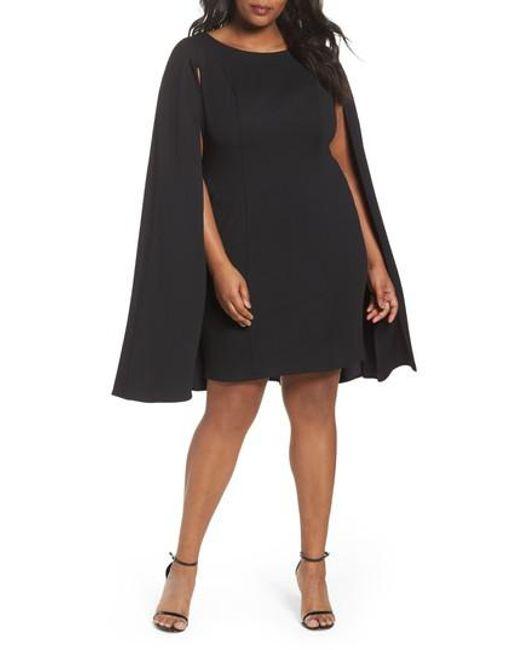 Adrianna Papell - Black Cape Sheath Dress - Lyst