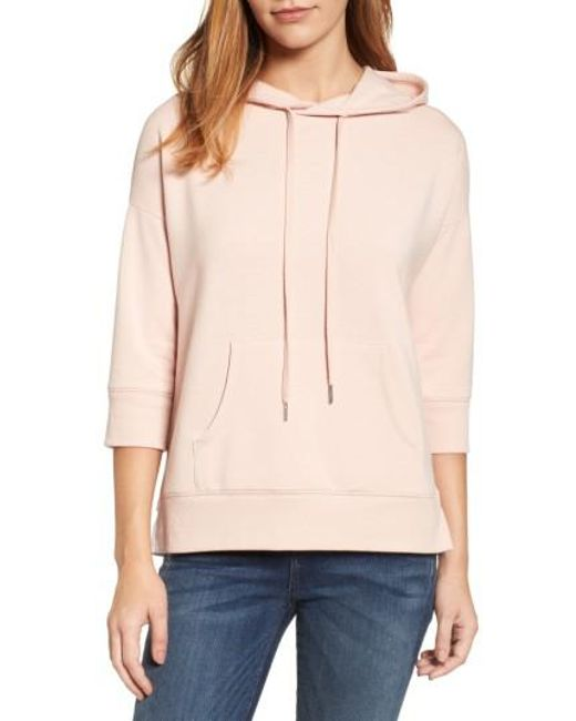 Caslon | Pink Caslon Woven Inset Knit Hoodie | Lyst
