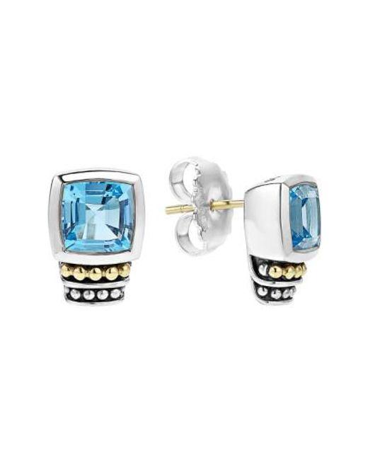 Lagos | Blue 'caviar Color' Semiprecious Stone Stud Earrings | Lyst