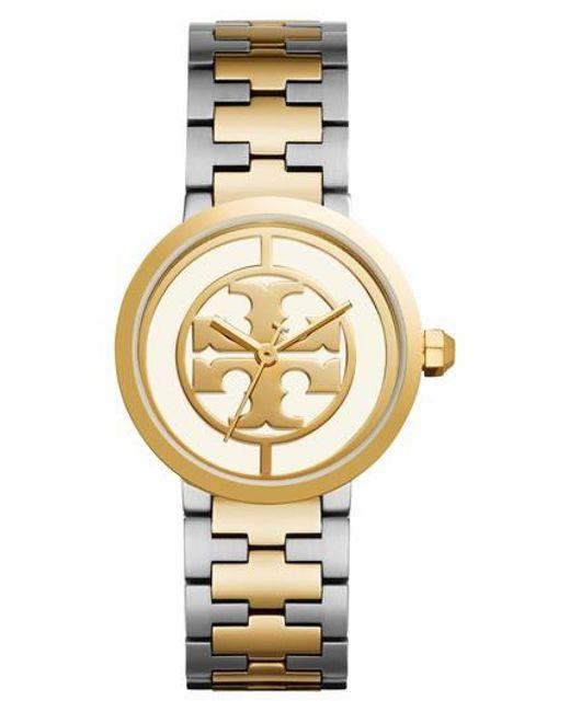 Tory Burch - Metallic Reva Logo Dial Bracelet Watch - Lyst