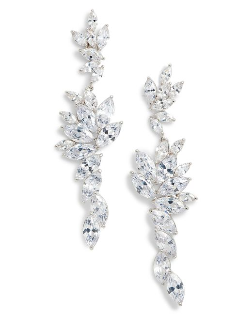 Nina - Metallic Layered Marquise Cubic Zirconia Statement Earrings - Lyst