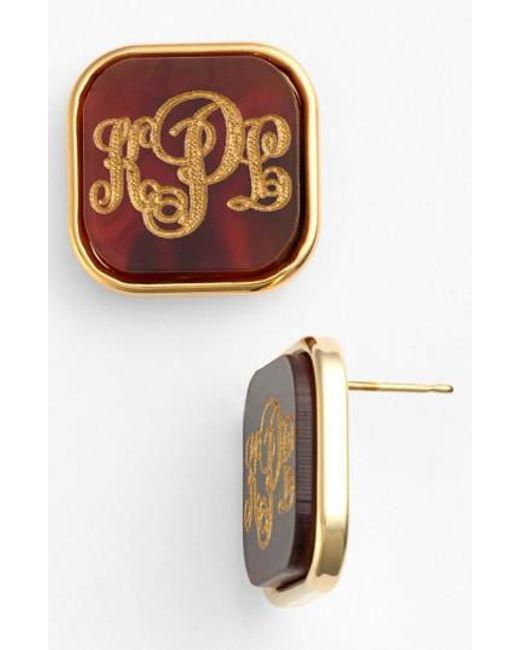 Moon & Lola | Brown 'vineyard' Personalized Monogram Stud Earrings | Lyst