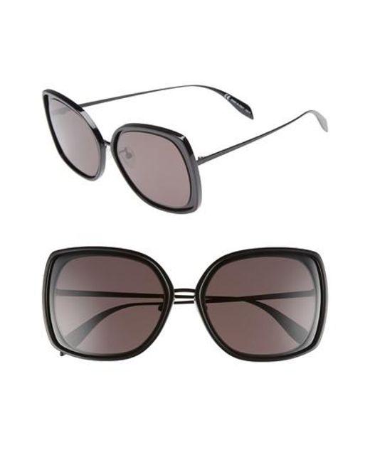 Alexander McQueen - Black 57mm Square Sunglasses - Lyst