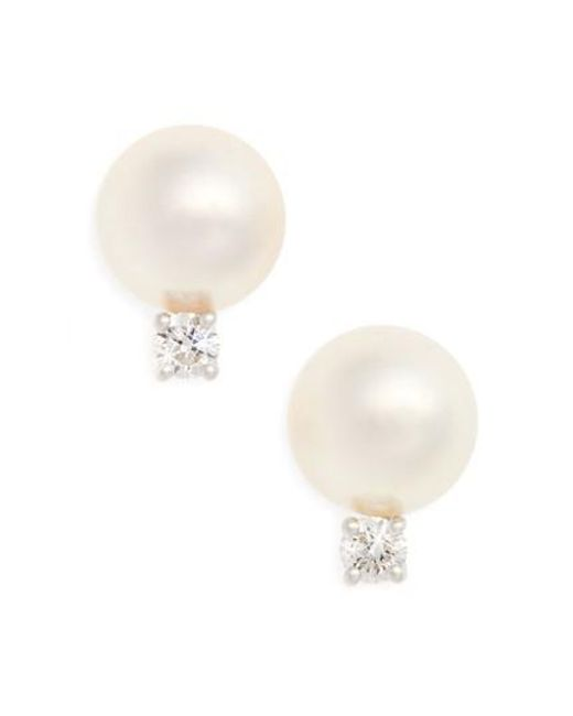 Mikimoto | White Akoya Pearl & Diamond Stud Earrings | Lyst