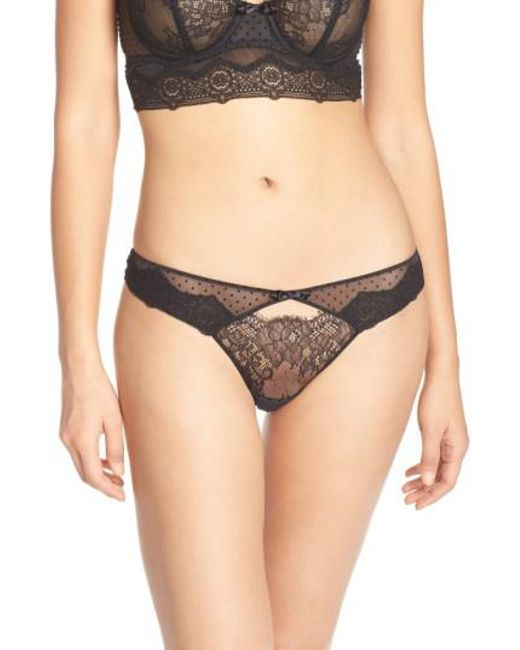 Chantelle | Brown Blossom Lace Keyhole Thong | Lyst