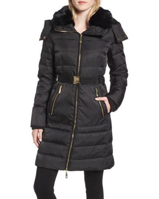 Vince Camuto | Black Belted Coat With Detachable Faux Fur | Lyst