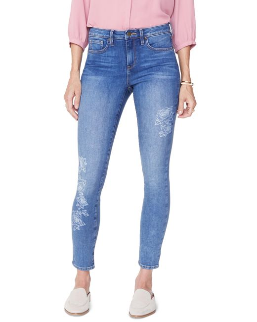 NYDJ - Blue Ami Laser Rose Ankle Skinny Jeans - Lyst