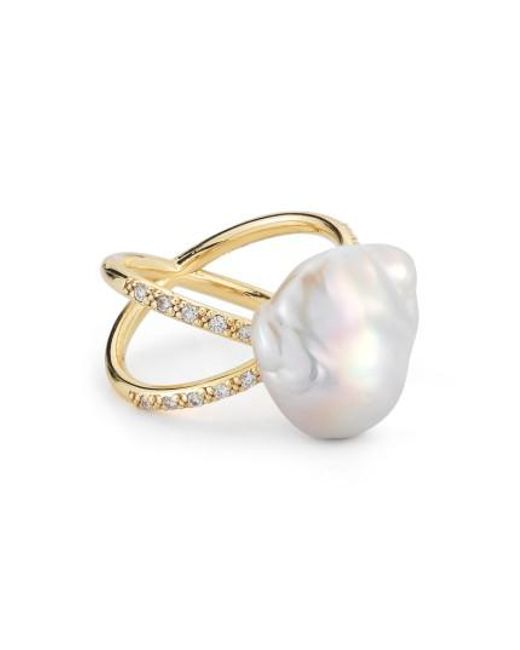 Mizuki | Metallic Pearl & Diamond Crossover Ring | Lyst
