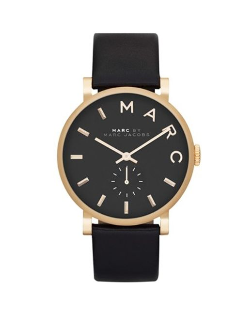 Marc Jacobs | Black 'baker' Leather Strap Watch | Lyst