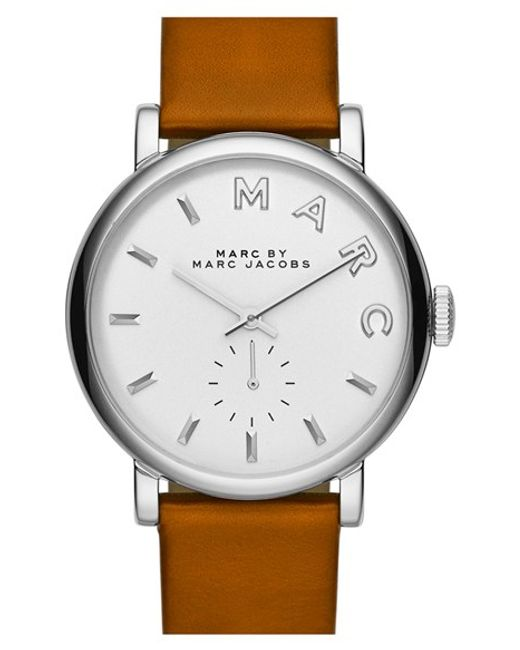 Marc Jacobs | Metallic 'baker' Leather Strap Watch | Lyst
