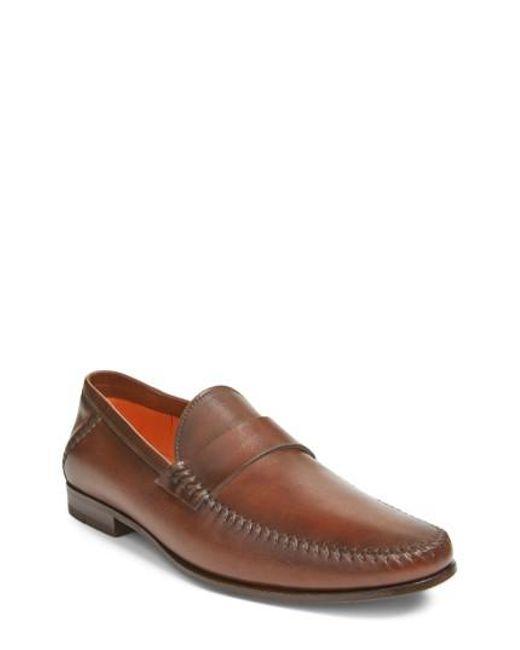 Santoni - Brown 'paine' Loafer for Men - Lyst