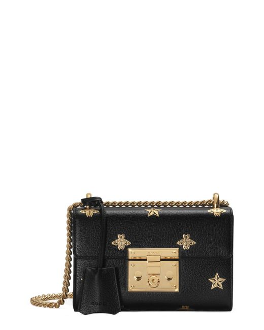 bcc020abe62 Gucci - Black Padlock Bee Star Small Shoulder Bag - Lyst ...