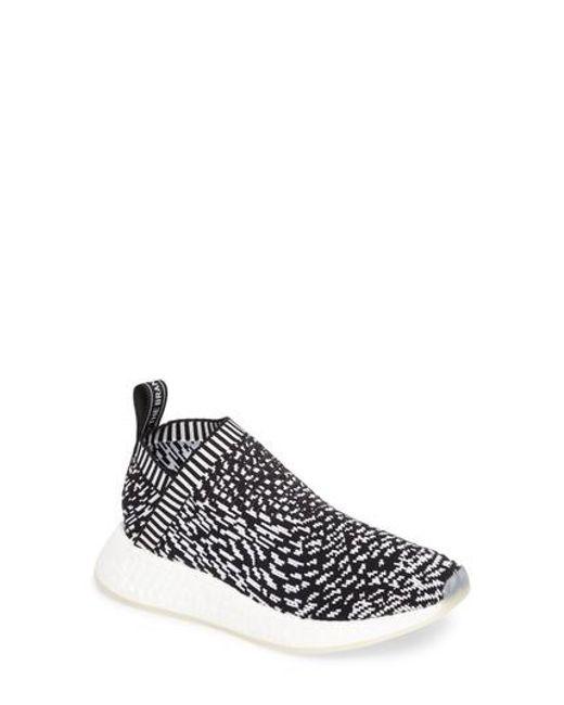 lyst adidas nmd cs2 primeknit scarpe da ginnastica in nero per gli uomini.
