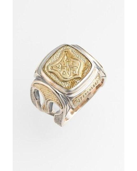 Konstantino | Metallic 'byzantium' Two-tone Rectangle Shield Ring for Men | Lyst