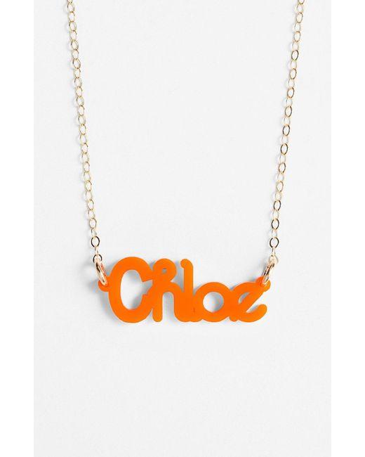 Moon & Lola - Orange 'zebra Block Font' Personalized Nameplate Pendant Necklace - Lyst