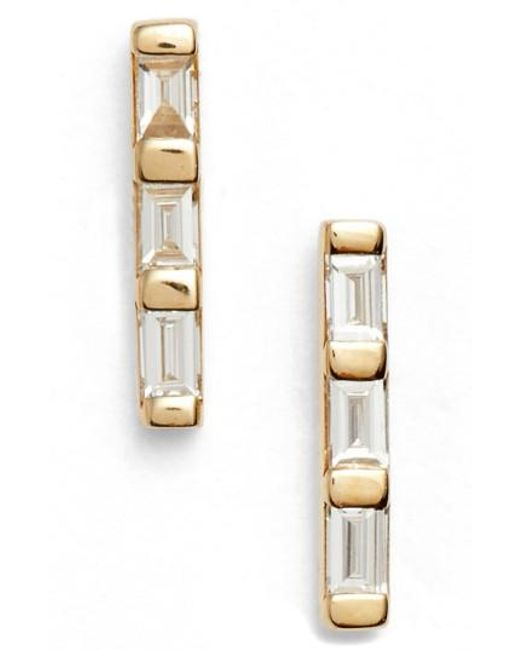 EF Collection - Metallic Diamond Bar Stud Earrings - Lyst