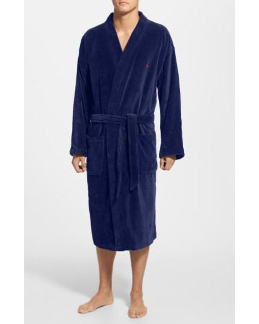 Polo Ralph Lauren | Blue Velour Kimono Robe for Men | Lyst