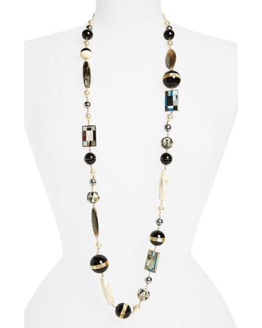 Tory Burch | Metallic Long Beaded Necklace | Lyst