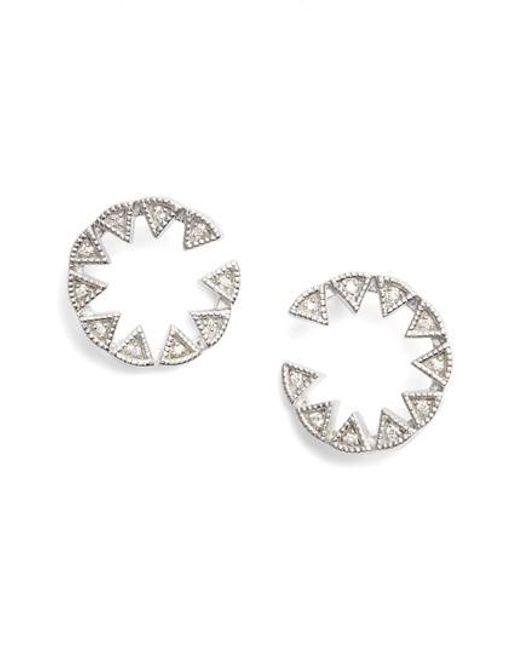 Dana Rebecca Metallic Emily Sarah Triangle Diamond Stud Earrings Lyst