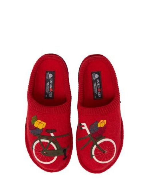 Haflinger - Red Bicycle Slipper - Lyst
