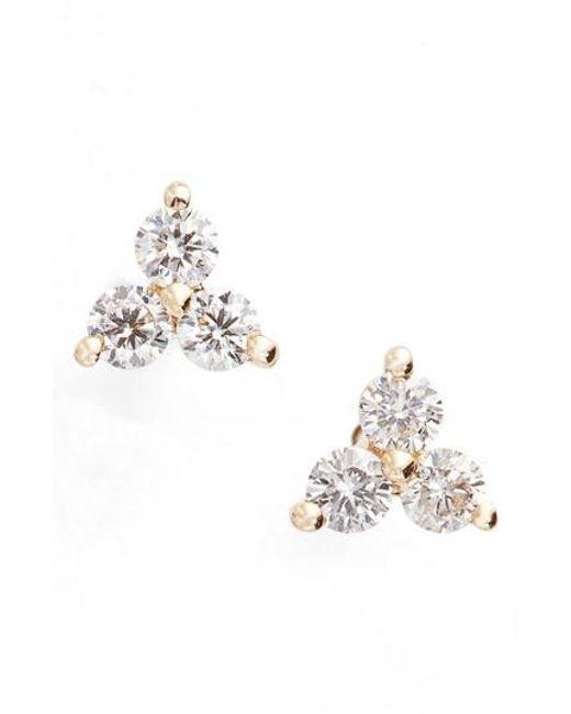 EF Collection | Metallic Diamond Trio Stud Earrings | Lyst