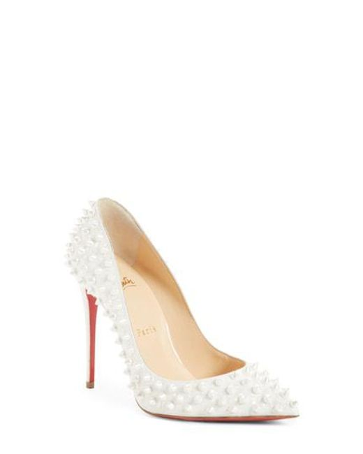 Christian Louboutin - Natural 'follies' Spike Pointy Toe Pump - Lyst