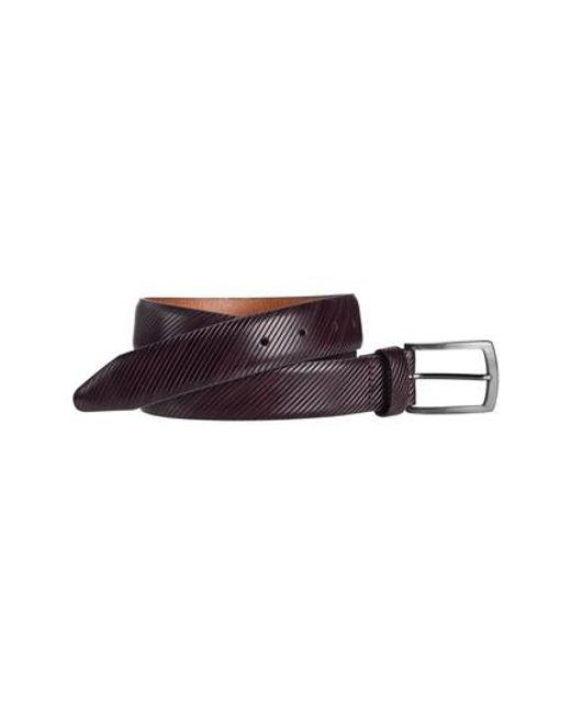 Johnston & Murphy | Purple Diagonal Embossed Leather Belt for Men | Lyst