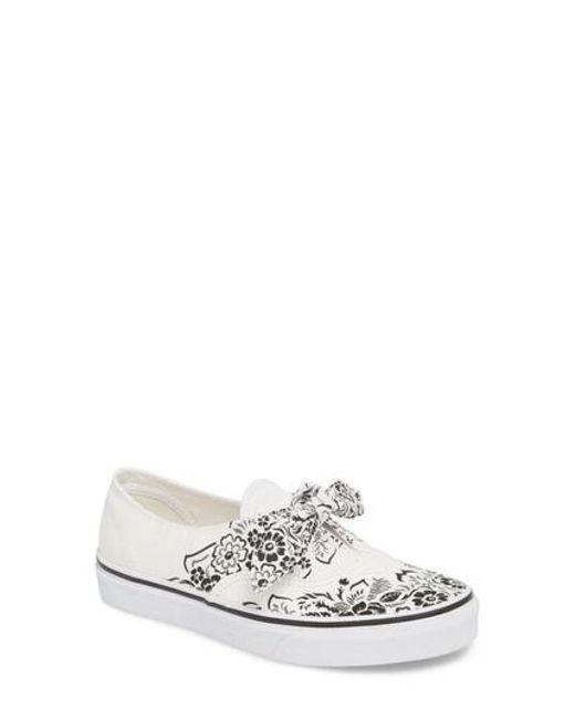 Vans Women's Ua Authentic Knotted Floral Bandana Slip-On Sneaker D4IWT5Fh6G