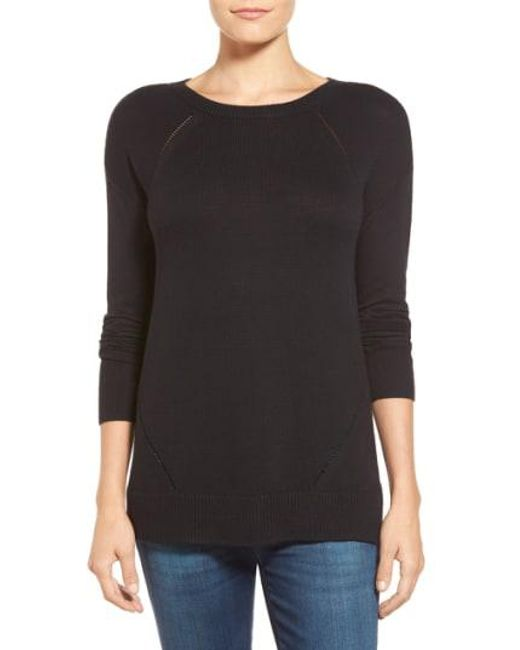 Caslon - Black Caslon Button Back Tunic Sweater - Lyst