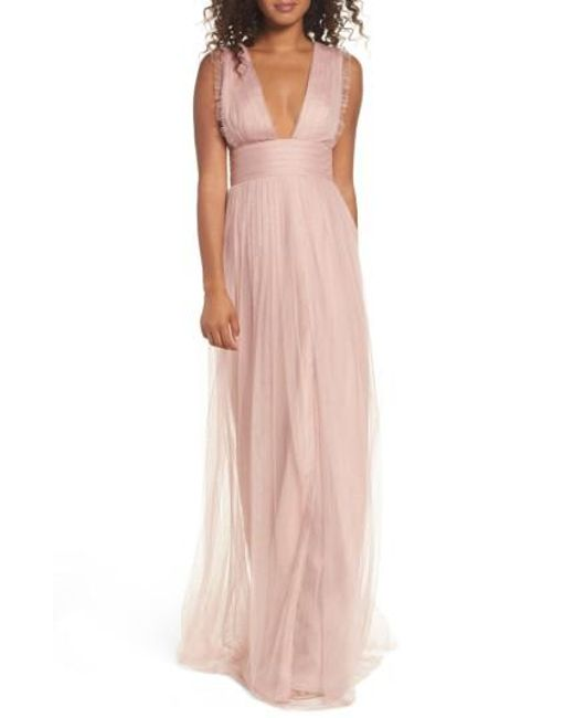 Monique Lhuillier Bridesmaids | Pink Isla Ruffle Pleated Tulle Gown | Lyst