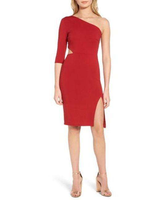 Soprano | Red Side Cutout One-shoulder Dress | Lyst