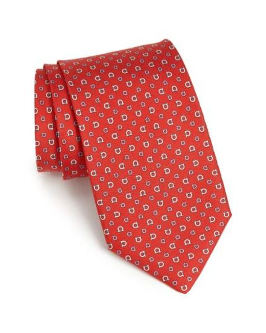 Ferragamo | Red Gancini Print Silk Tie for Men | Lyst