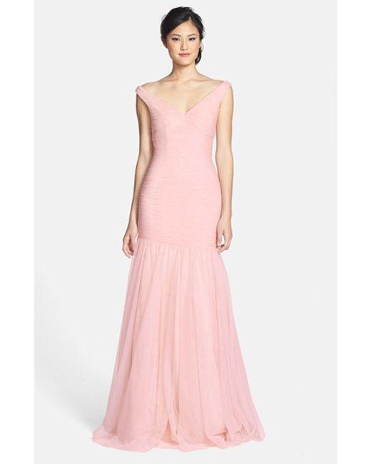 Monique Lhuillier Bridesmaids | White V-neck Shirred Tulle Trumpet Dress | Lyst