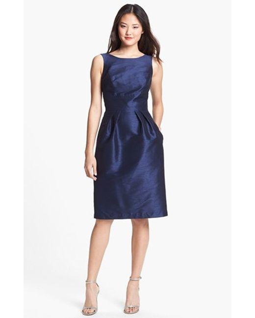Alfred Sung   Blue Boatneck Sheath Dress   Lyst