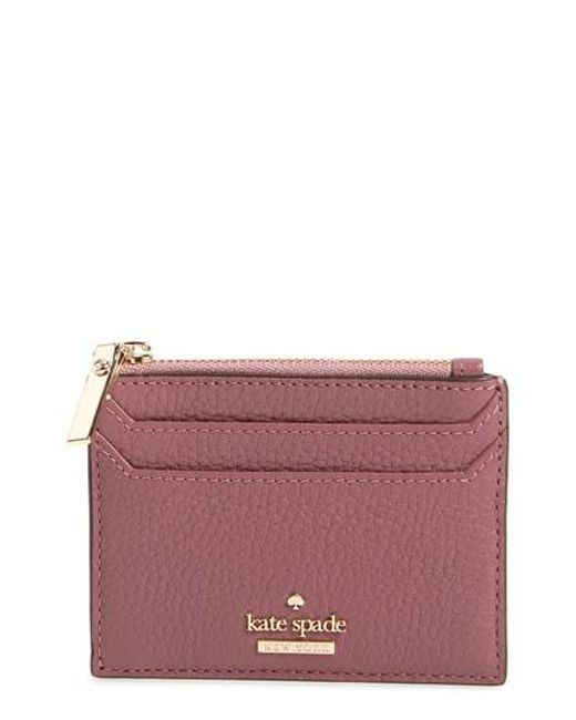 Kate Spade - Oakwood Street - Lalena Leather Card Case - Purple - Lyst