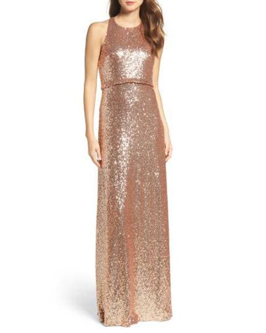 Jenny Yoo - Metallic Sloane Sequin Halter Gown - Lyst