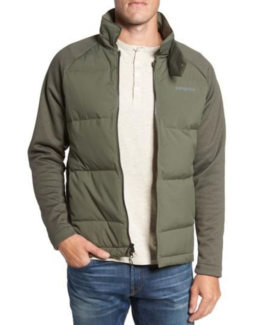 Patagonia ukiah hybrid recycled down jacket in green for for Patagonia men s recycled down shirt jacket