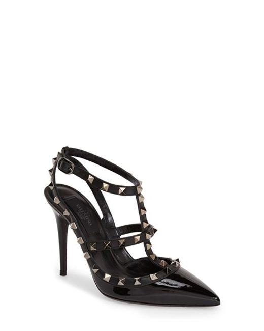 Valentino | Black Noir Rockstud T-strap Pump | Lyst