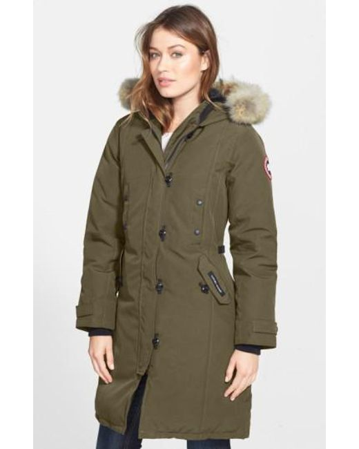 Canada Goose | Green Kensington Slim Fit Down Parka With Genuine Coyote Fur Trim | Lyst