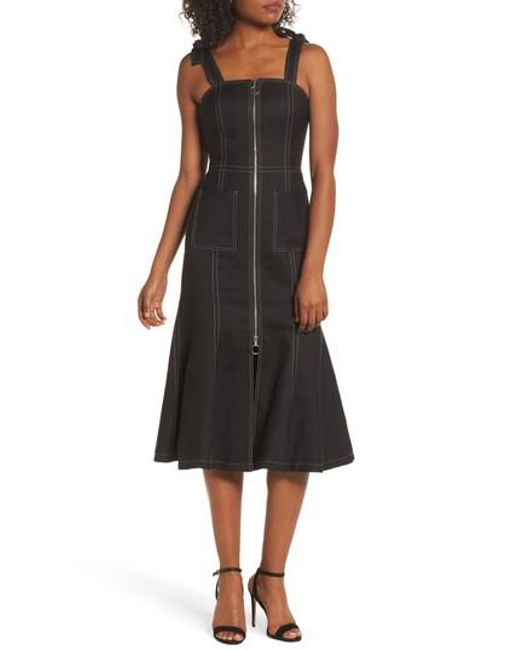 C/meo Collective - Black Get Right Shoulder Tie Midi Dress - Lyst