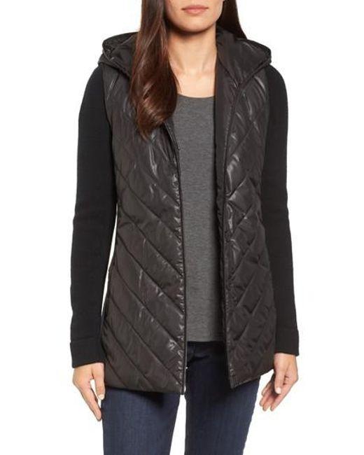 Eileen Fisher   Black Hooded Merino Wool Trim Jacket   Lyst