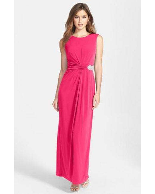 Ellen Tracy | Pink Embellished Jersey Gown | Lyst