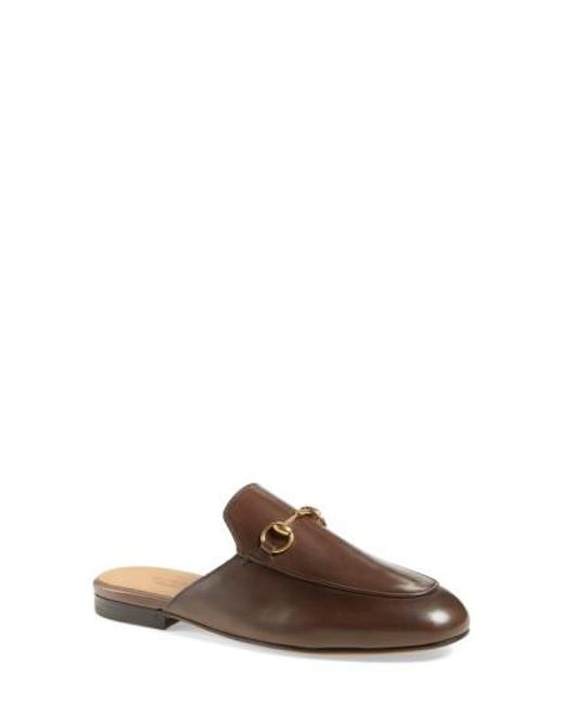 Gucci | Brown Princetown Leather Slides | Lyst