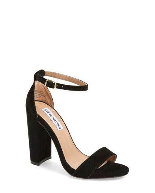 Steve Madden | Black Carrson Suede Chunky-Heel Sandals  | Lyst