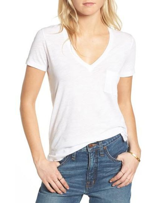 Madewell | Blue Whisper Cotton V-neck Pocket Tee | Lyst